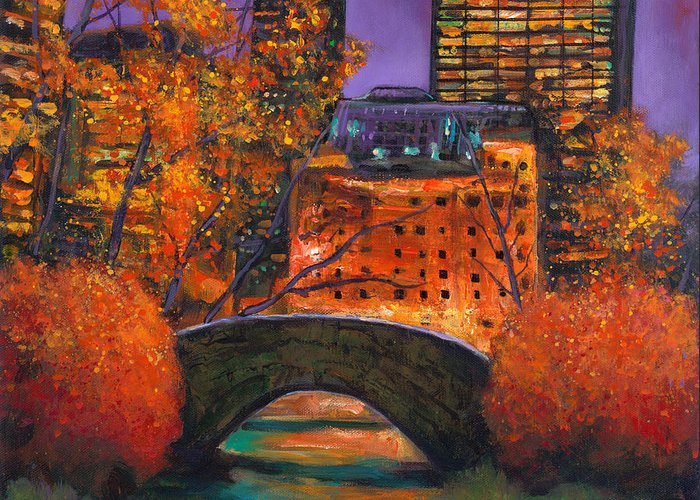 Gapstow Bridge Central Park Greeting Card featuring the painting New York City Night Autumn by Johnathan Harris