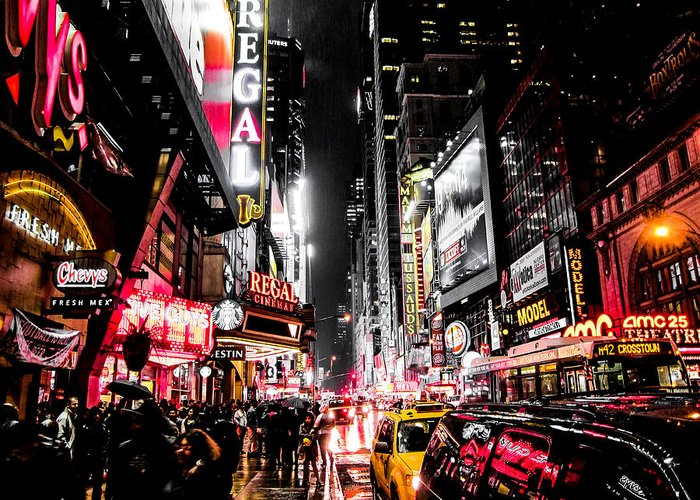 Newyork Greeting Card featuring the photograph New York City Night II by Nicklas Gustafsson