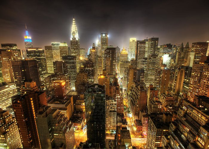 New York City Skyline Greeting Card featuring the photograph New York City Night by Shawn Everhart