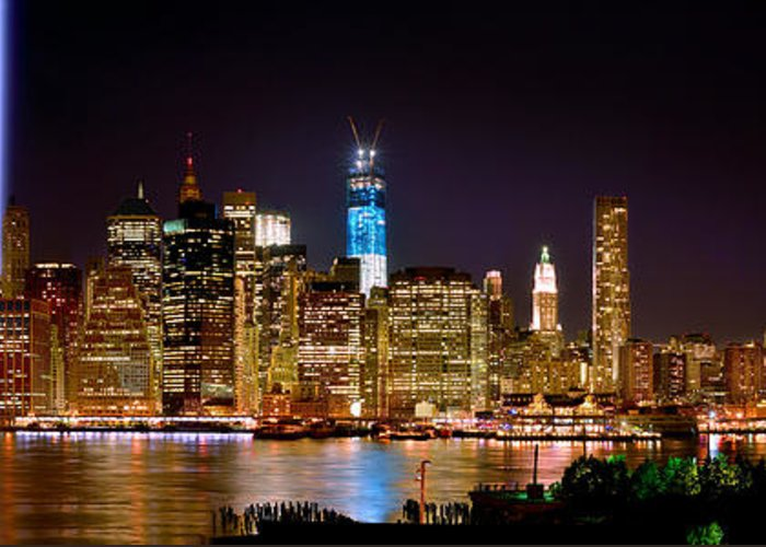New York City Skyline At Night Greeting Card featuring the photograph New York City Tribute In Lights And Lower Manhattan At Night Nyc by Jon Holiday