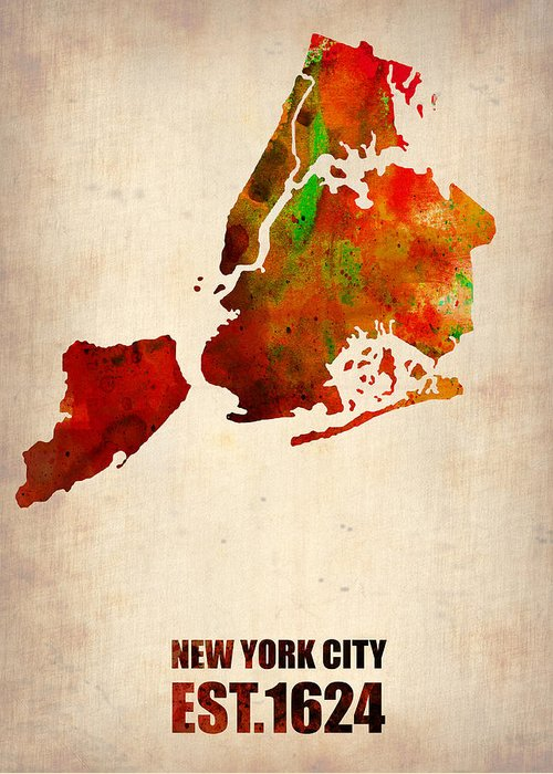 New York City Greeting Card featuring the digital art New York City Watercolor Map 2 by Naxart Studio