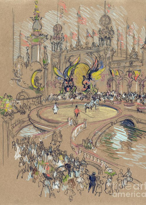 1906 Greeting Card featuring the drawing New York, Coney Island, C1906. by Granger