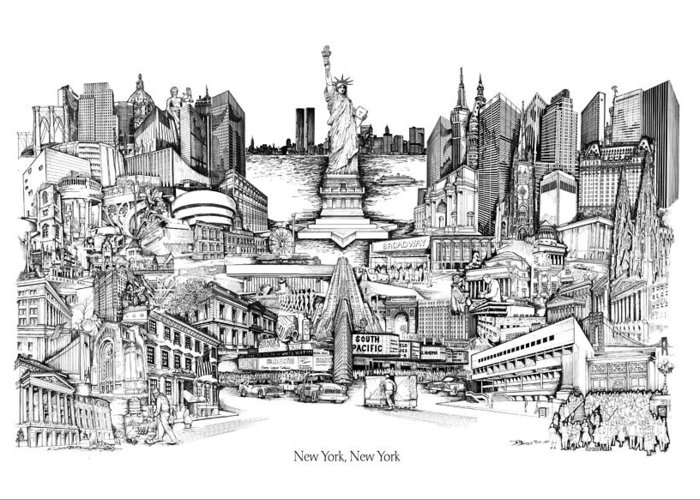 City Drawing Greeting Card featuring the drawing New York by Dennis Bivens