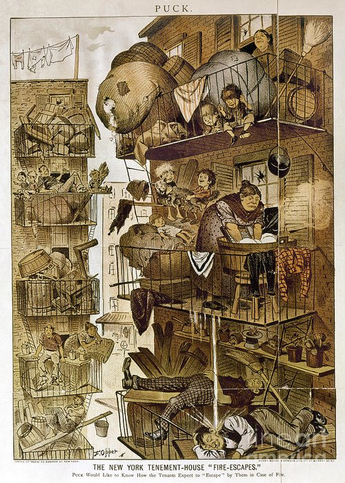 1890 Greeting Card featuring the photograph New York: Fire Escapes by Granger