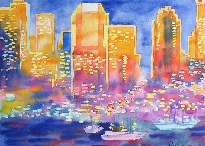 Landscape Greeting Card featuring the painting New York Great City Silhouettes.2007 by Natalia Piacheva