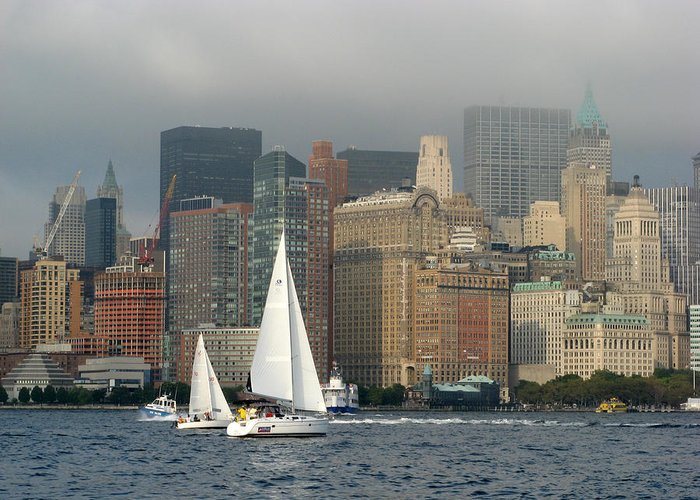 New York Harbor Greeting Card featuring the photograph New York Harbor by Terese Loeb Kreuzer