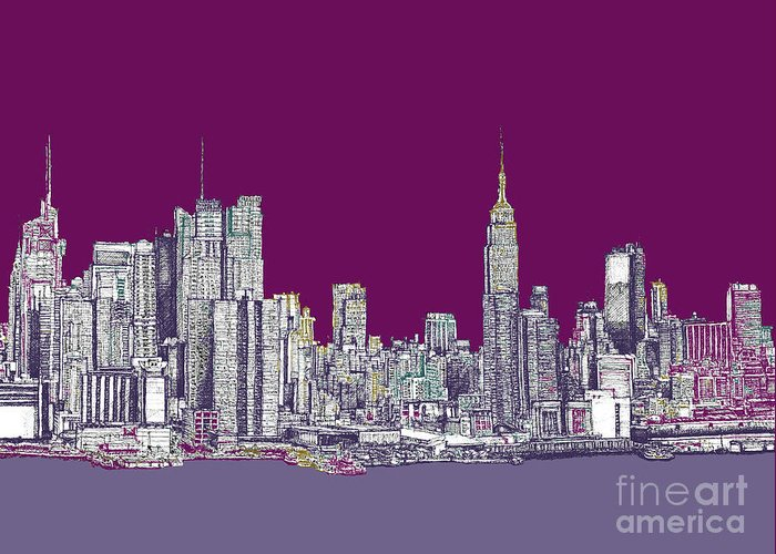 Purple Greeting Card featuring the drawing New York In Purple by Adendorff Design