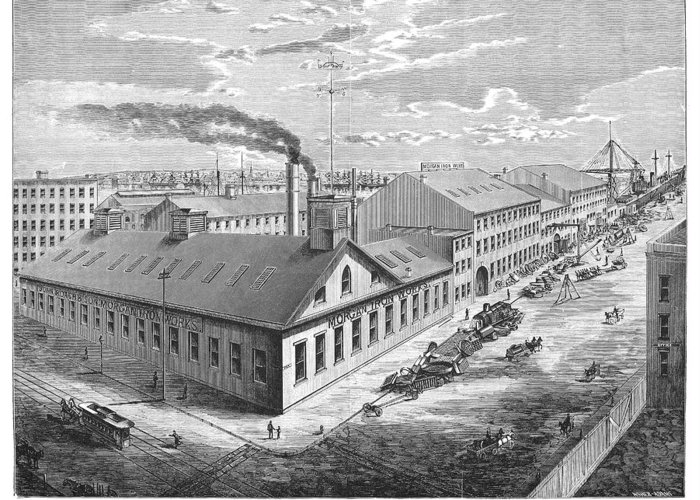 1876 Greeting Card featuring the photograph New York: Iron Works, 1876 by Granger