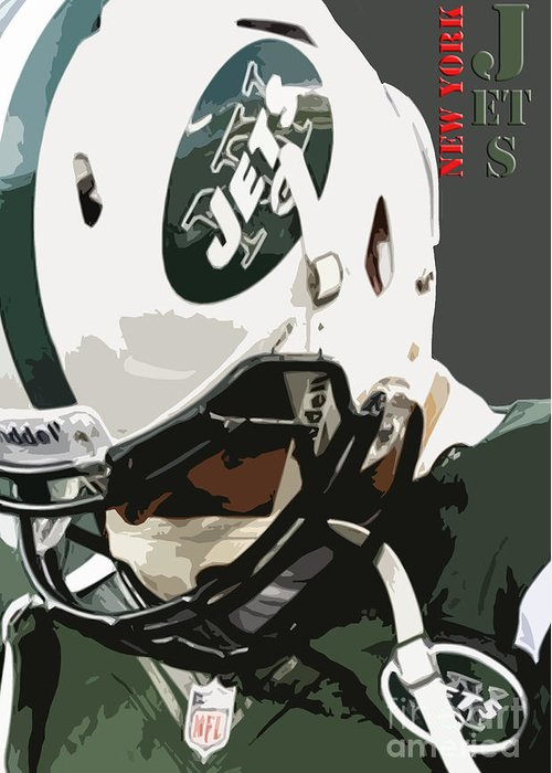New York Greeting Card featuring the painting New York Jets Football Team And Original Typography by Drawspots Illustrations