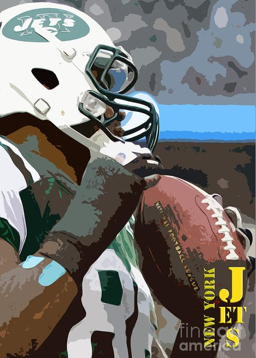 New York Greeting Card featuring the painting New York Jets Football Team And Original Yellow Typography by Drawspots Illustrations