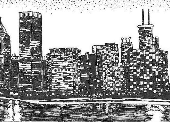 New York Skyline Greeting Card featuring the drawing New York by Jo Anna McGinnis
