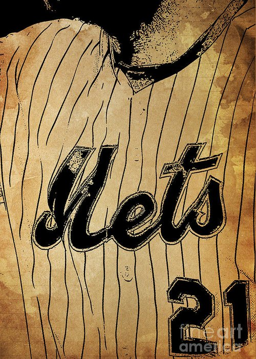 Mets Greeting Card featuring the painting New York Mets 21 Red And Blue Vintage Cards On Brown Background by Drawspots Illustrations