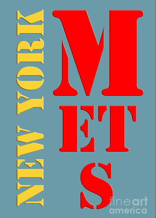 Mets Greeting Card featuring the painting New York Mets Baseball New Typography by Drawspots Illustrations