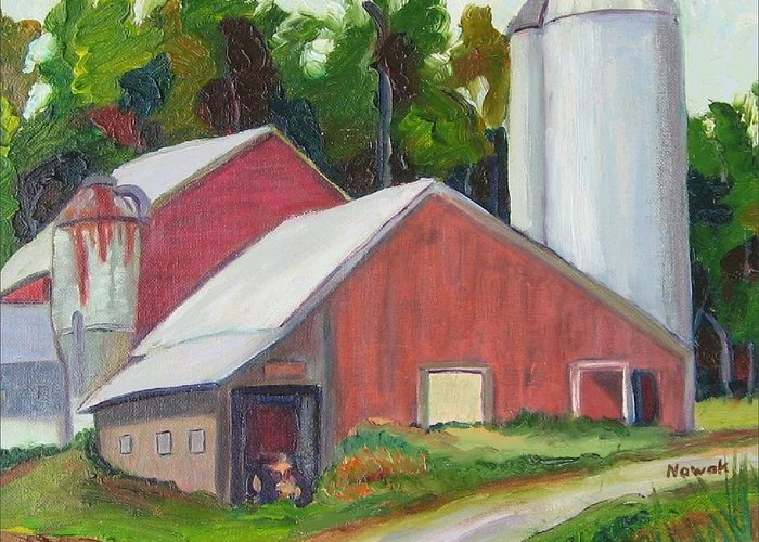 Farm Greeting Card featuring the painting New York State Farm With Silos by Richard Nowak