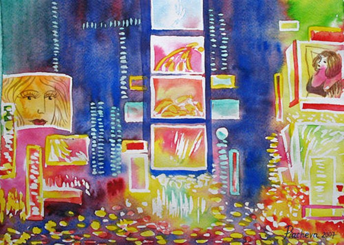 Landscape Greeting Card featuring the painting New York Times Square. Lights And Colors. by Natalia Piacheva