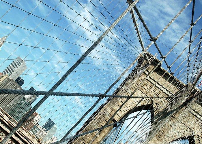 United States Of America Greeting Card featuring the photograph New York Usa Brooklyn Bridge Towards Manhattan. by Richard Wareham