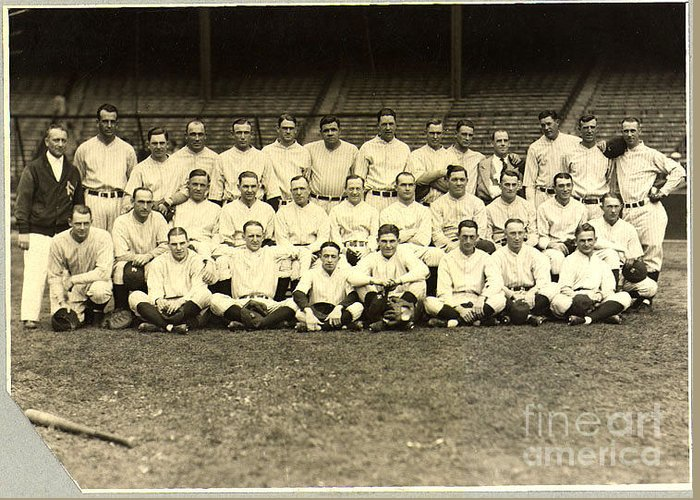 Baseball Greeting Card featuring the photograph New York Yankees Baseball Team Posed by Pg Reproductions