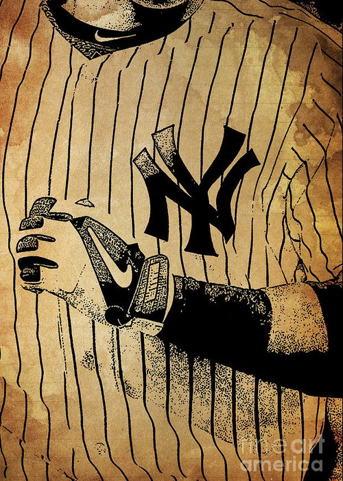 Yankees Greeting Card featuring the painting New York Yankees Baseball Team Vintage Card by Drawspots Illustrations