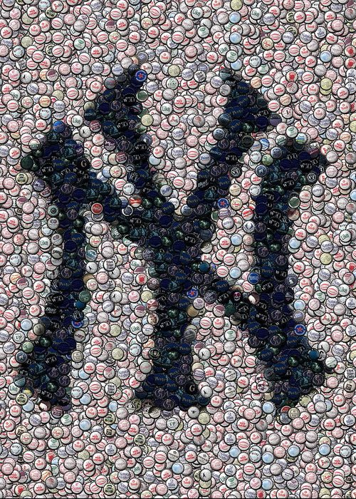 New York Greeting Card featuring the digital art New York Yankees Bottle Cap Mosaic by Paul Van Scott