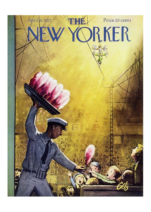 Circus Greeting Card featuring the painting New Yorker April 6 1957 by Arthur Getz