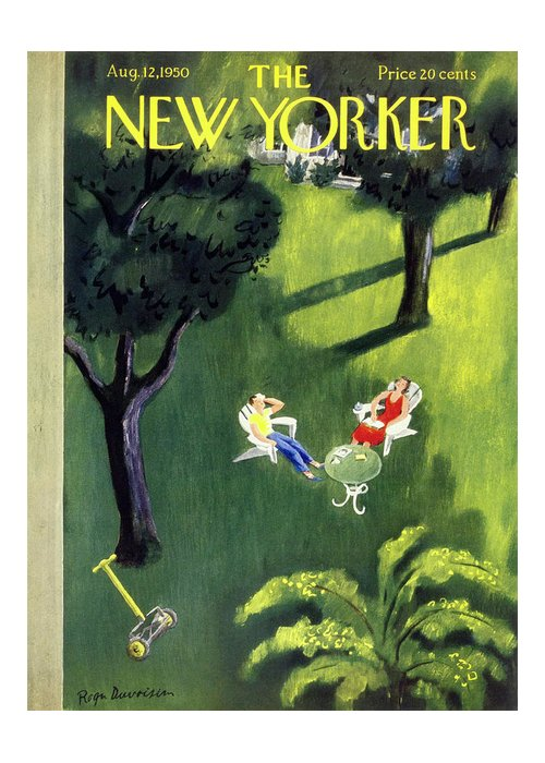 Couple Greeting Card featuring the painting New Yorker August 12 1950 by Roger Duvoisin