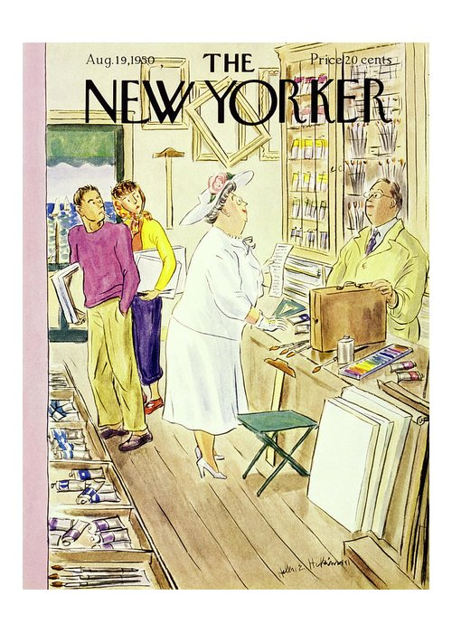 Matron Greeting Card featuring the painting New Yorker August 19 1950 by Helene E Hokinson
