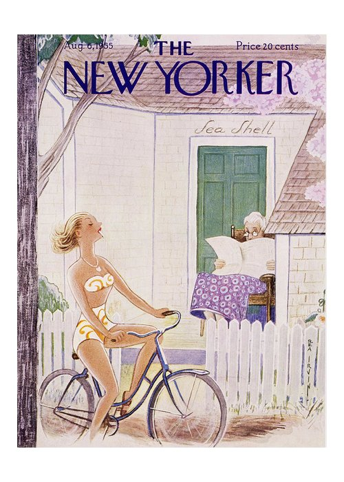 Sexy Greeting Card featuring the painting New Yorker August 6 1955 by Rea Irvin