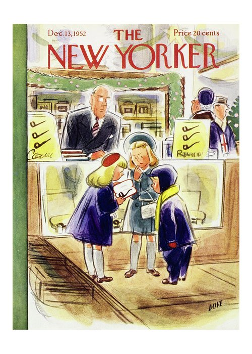Children Greeting Card featuring the painting New Yorker December 13 1952 by Leonard Dove