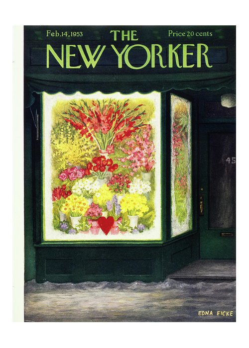Flowers Greeting Card featuring the painting New Yorker February 14 1953 by Edna Eicke