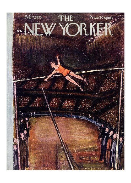 Pole Vault Greeting Card featuring the painting New Yorker February 7 1953 by Abe Birnbaum