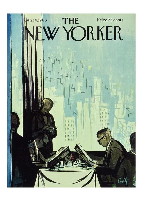 Illustration Greeting Card featuring the painting New Yorker January 16 1960 by Arthur Getz