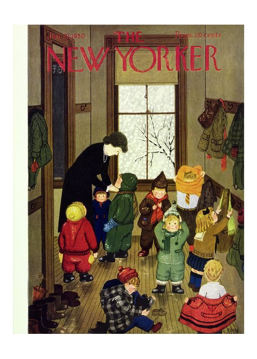 Teacher Greeting Card featuring the painting New Yorker January 21 1950 by Edna Eicke