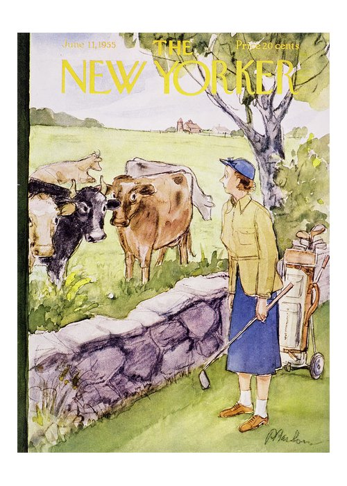 Golf Greeting Card featuring the painting New Yorker June 11 1955 by Perry Barlow