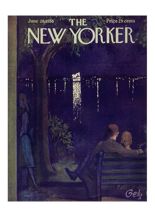 Couple Greeting Card featuring the painting New Yorker June 28 1958 by Arthur Getz
