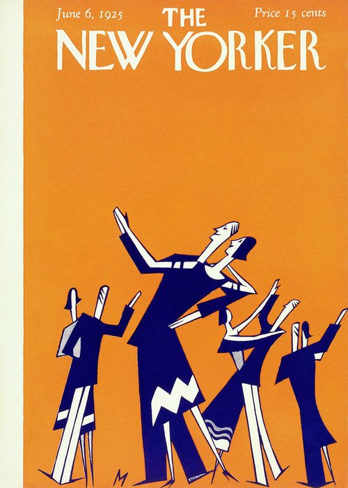 Illustration Greeting Card featuring the painting New Yorker Magazine Cover Of Couples Dancing by Julian De Miskey