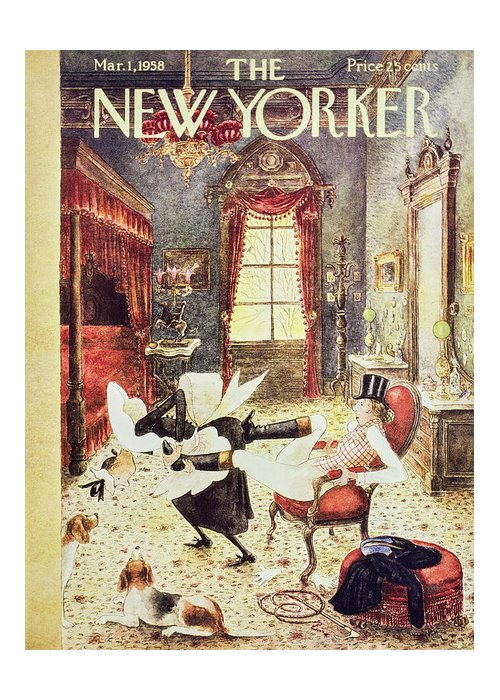 Maid Greeting Card featuring the painting New Yorker March 1 1958 by Mary Petty