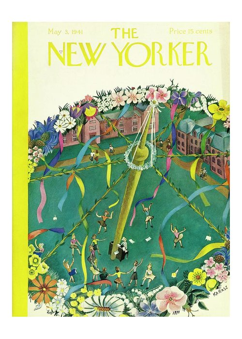 Spring Greeting Card featuring the painting New Yorker May 3 1941 by Ilonka Karasz