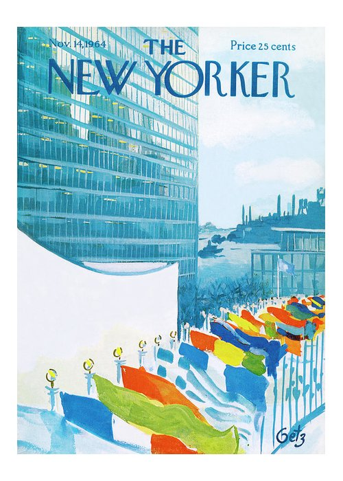 Urban Greeting Card featuring the painting New Yorker November 14th, 1964 by Arthur Getz