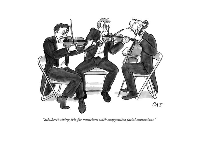 Schubert Greeting Card featuring the drawing New Yorker September 21st, 2009 by Carolita Johnson