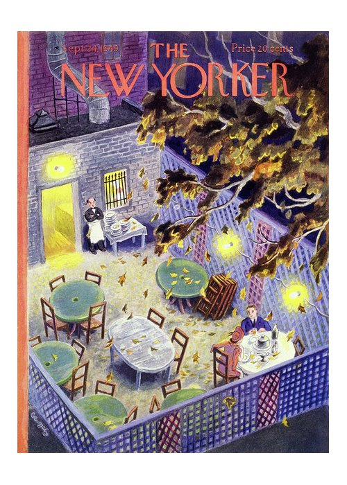 Restaurant Greeting Card featuring the painting New Yorker September 24 1949 by Tibor Gergely