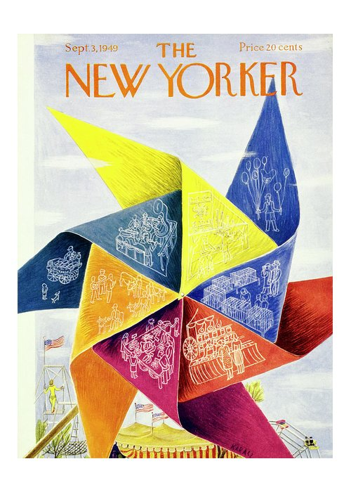 Pinwheel Greeting Card featuring the painting New Yorker September 3 1949 by Ilonka Karasz