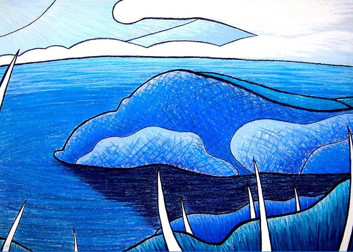 Water Greeting Card featuring the painting New Zealand Bay by Jason Charles Allen