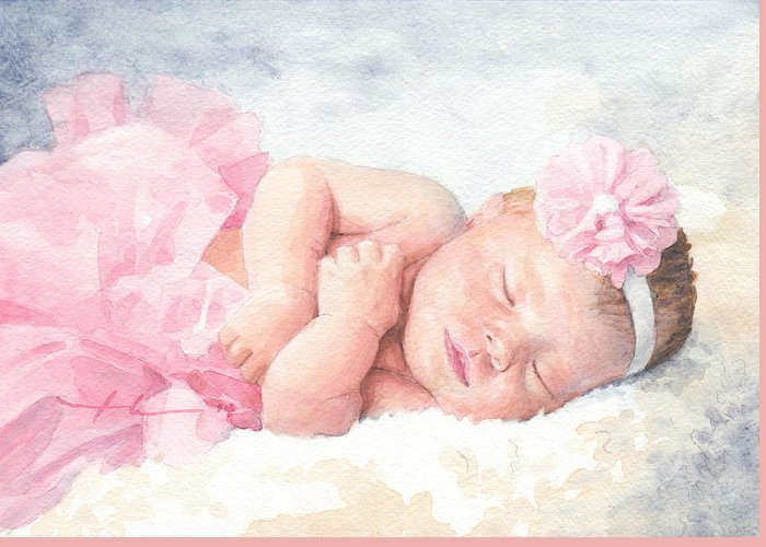 <a Href=http://miketheuer.com Target =_blank>www.miketheuer.com</a> Newborn Girl Asleep In A Tutu Watercolor Portrait Greeting Card featuring the drawing Newborn Girl Asleep In A Tutu by Mike Theuer