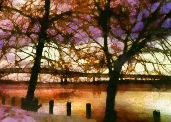 Newburgh - Beacon Bridge Greeting Card featuring the photograph Newburgh Beacon Bridge Purple Skies by Janine Riley
