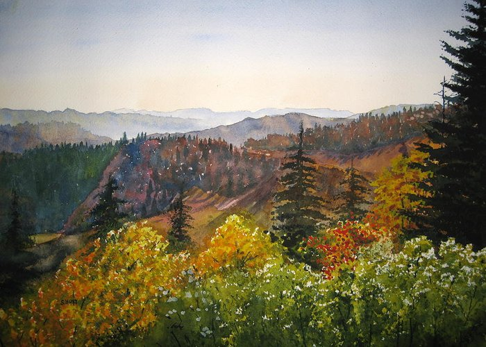 Newfound Gap Greeting Card featuring the painting Newfound Gap by Shirley Braithwaite Hunt