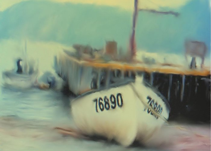 Newfoundland Greeting Card featuring the digital art Newfoundland Fishing Port Impressions by Ian MacDonald