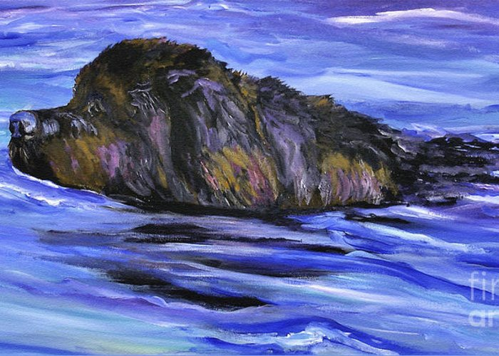 Newfoundland Greeting Card featuring the painting Newfoundland Oil Painting by Mary Jo Zorad