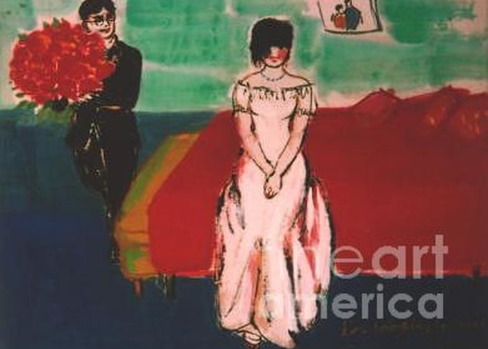 Chinese Greeting Card featuring the painting Newly Weds by Meihua Lu