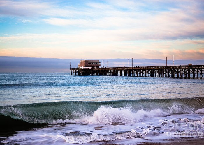 Balboa Peninsula Greeting Card featuring the photograph Newport Beach Ca Pier At Sunrise by Paul Velgos