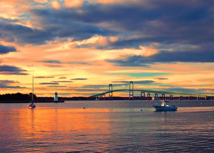 Newport Greeting Card featuring the photograph Newport Gold by Joann Vitali
